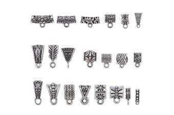 100Gram About 90Pcs Mix Tibetan Silver Colour Connectors Bails Beads for Jewellery Making fit European Charm Bracelet,Jewellery Making Supplies.Beads Charms for Jewellery Making