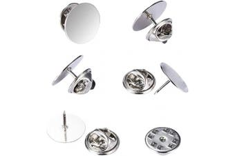(15mm, Silver) - canomo 50 Pairs Butterfly Pin Backs with 15mm Tie Tacks Blank Pins for for Lapel Pins, Service Bars and Jewellery(Silver)