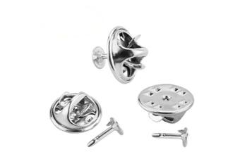 (Silver) - 100 Pairs Butterfly Clutch, CBTONE Silver Metal Tie Tacks Pin Backs Replacement with Blank Pins for Craft Making, Badge Insignia, Citation Bars, Service Bars, Toy Pins and Jewellery Making