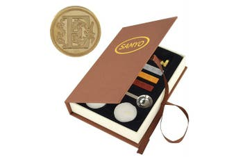 (E) - Stamp Seal Sealing Wax Vintage Classic Old-Fashioned Antique Alphabet Initial Letter Set Brass Colour Creative Romantic Stamp Maker (E)