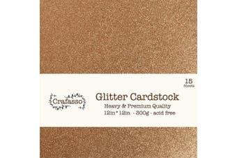 (rose cooper glitter) - Crafasso 30cm x 30cm 300gms Heavy & Premium cardstock, 15 Sheets, Rose Copper