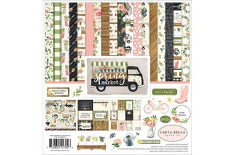 (Blue, Pink, Green, Brown) - Carta Bella Paper Company Spring Market Collection Kit