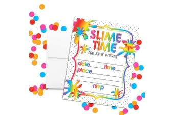 Rainbow Slime Time Themed Birthday Party Invitations, 20 13cm x 18cm Fill in Cards with Twenty White Envelopes by AmandaCreation
