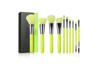 (Neon Green) - Docolor Makeup Brushes 10 Piece Neon Green Makeup Brush Set Premium Synthetic Kabuki Foundation Blending Face Powder Mineral Eyeshadow Make Up Brushes Set