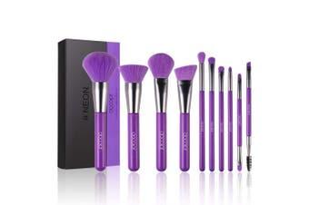 (Neon Purple) - Docolor Makeup Brushes 10 Piece Neon Purple Makeup Brush Set Premium Synthetic Kabuki Foundation Blending Face Powder Mineral Eyeshadow Make Up Brushes Set
