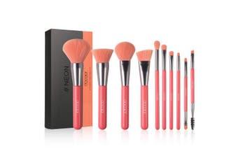 (Neon Peach) - Docolor Makeup Brushes 10 Piece Neon Peach Makeup Brush Set Premium Synthetic Kabuki Foundation Blending Face Powder Mineral Eyeshadow Make Up Brushes Set