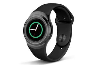(Large, Black with Black Button) - Compatible Gear S2 Band, NAHAI Soft Silicone Straps Sport Bands Adjustable Replacement Wristband Watch Bracelet for Samsung Gear S2 Smartwatch, Large Small