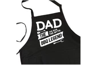 (Black Apron) - BBQ Grill Apron - Dad. The Man. The Myth. The Legend - Funny Apron For Dad - 1 Size Fits All Chef Apron High Quality Poly/Cotton 4 Utility Pockets, Adjustable Neck and Extra Long Waist Ties