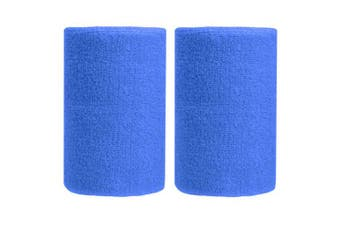 (Jewelry Blue) - BBOLIVE 1.2m Inch Wrist Sweatband in 29 Different Neon Colours - Athletic Cotton Terry Cloth - Great for All Outdoor Activity(1 Pair)