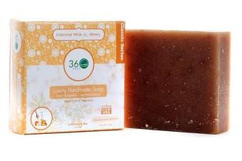 (Oatmeal Milk & Honey) - Handmade Soap Oatmeal Milk & Honey, X-LARGE 150ml Handmade Soap bar- Warm inviting fragrance, oatmeal as exfoliant - Normal to dry skin, Natural Soap - Organic Castile lye Soap, Made in USA- 360Feel