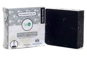 (Pine Tar) - Handmade Soap Old fashioned Pine Tar, X-LARGE 150ml bar- REAL Pine Tar, exfoliant- activated charcoal & oatmeal - Normal to dry skin, Natural Soap - Organic Castile lye Soap, Made in USA- 360Feel