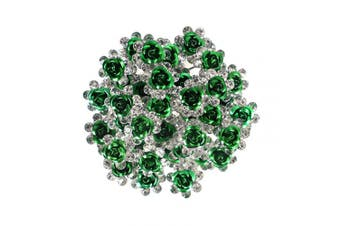 (Green) - BETITETO 40 Pcs U-Shaped Flower Rhinestone Hair Pins Crystal Hair Accessories for Bridal Wedding/Party/Girls' Sweet Sixteen (Green)