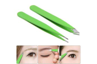 Aysekone 2 Pieces Eyebrow Clip Set - Green Stainless Steel Slant Tip Tweezer and Pointed Tweezer for Eyebrow and Facial Hair Removal