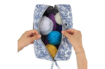 (Large(up to 25cm ), Flowers) - Luxja Yarn Storage Bag, Carrying Knitting Bag for Yarn Skeins, Crochet Hooks, Knitting Needles (up to 25cm ) and Other Small Accessories (Large, Flowers)