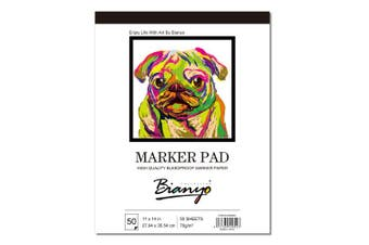(White) - Bianyo XL Bleedproof Marker Sketch Book- 28cm x 36cm - 50 Sheets Marker Paper for Drawing