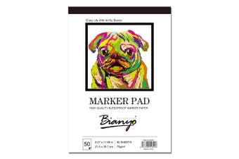 """(White A4(8.27""""x11.69"""")) - Bianyo Bleedproof Marker Paper Pad - A4(8.27inX11.180cm ) - 50 Sheets"""