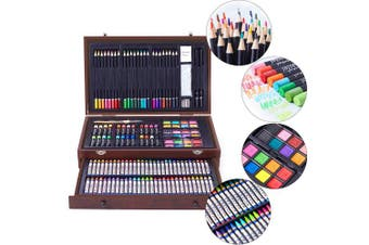 (145PCS) - 145 Piece Deluxe Art Creativity Set with 2 x 50 Page Drawing Pad, Art Supplies in Portable Wooden Case- Crayons, Oil Pastels, Coloured Pencils, Watercolour Cakes, Sharpener, Sandpaper - Deluxe Art Set