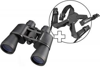 BRESSER 7x50 Sniper Porro Binoculars for Birdwatching, Hiking, Hunting, Sightseeing, Includes Carry Bag and Extra Comfort Strap
