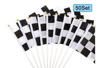 U_star 50 Pieces Chequered Flags 20cm x 14cm Racing Flag Hand Held Stick Flags, Chequered Flag Race Car Flags,Chequered Racing Flag,Chequered Flag Party Supplies,Black & White