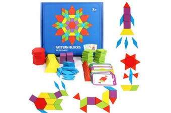 GEMEM 155 Pcs Wooden Pattern Blocks Set Geometric Shape Puzzle Classic Educational Montessori Tangram Toys for Kids with 24 Pcs Design Cards