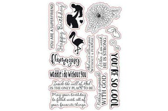 (You are so cool) - Flamingo Flowers Mother's Day Sentiments Sayings Phrase Rubber Clear Stamp/Seal Scrapbook/Photo Decorative Card Making Clear Stamp (You are so Cool)