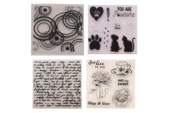 4pcs/Lot Bubble Circle English Background Flowers Dog Stamp Rubber Clear Stamp/Seal Scrapbook/Photo Album Decorative Card Making Clear Stamps