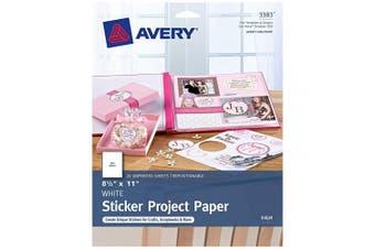 (20 sheets) - Avery Printable Sticker Paper, Matte White, 22cm x 28cm , Inkjet Printers, 20 Sheets (44383)