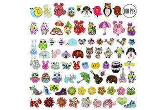 (Wooden, Cartoon) - BcPowr 100 PCS Wooden Cartoon Buttons Assorted Design for Crafts Scrapbooking Or Sewing