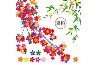 (Wooden, Petal) - BcPowr 500 PCS Wooden Petal Buttons Sewing Button DIY Craft Decoration, Mixed Colour,Colourful Flower Flatback Wooden Buttons Sewing Craft Scrapbooking