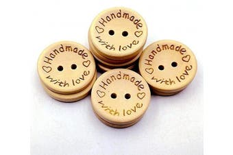 (15MM / 0.6in, wood-colored) - 100pcs Wooden Handmade with Love Round Crafts Decor 2 Holes Wooden Sewing Buttons,15MM