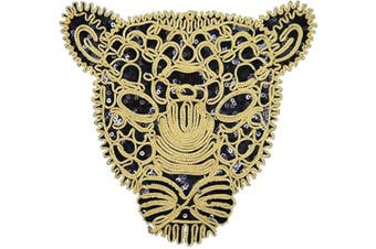 (Leopard-2) - ARTEM 1Pcs Black Sequins Leopard Head Patch Sew on Patch Rope Embroidered Sequins Pattern Cloth Patch Applique Stickers