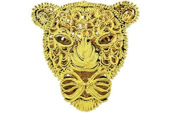 (Leopard-1) - ARTEM Leopard Head Patch 1Pcs Gold Sequins Sew on Patch Rope Embroidered Sequins Pattern Cloth Patch Leopard Applique Crafts Stickers