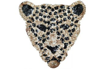 (Leopard-4) - ARTEM Sequins Leopard Head Patch Sew on Patch Rope Embroidered Sequins Pattern Cloth Stickers for Decoration Clothing 1 Pcs