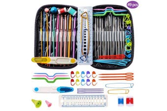 (Purple) - Crochet Hooks, DIY Craft Yarn Mixed Aluminium Handle Knitting Needles Sewing Weave Set Full Kit Tools with Gauge Rule Scissors Stitch Holders (Purple)