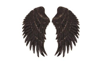 (black) - Artem 1 Pair Black Sequins Angel Wings Sew On Iron On Patch DIY Embroidered Applique Bling Wings for Jackets Cloth Decoration Accessory Stickers Gifts 4 Colours