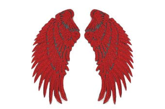 (red) - Artem 1 Pair Red Sequins Angel Wings Sew On Iron On Patch DIY Embroidered Applique Bling Wings for Jackets Cloth Decoration Accessory Stickers Gifts 4 Colours