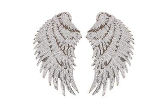 (silver) - Artem 1 Pair Silver Sequins Angel Wings Sew On Iron On Patch DIY Embroidered Applique Bling Wings for Jackets Cloth Decoration Accessory Stickers Gifts 4 Colours