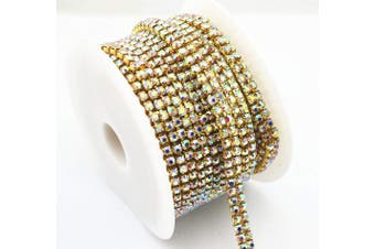 (Gold+AB Crystal) - AEAOA 0.9m 1 Yard 2 Rows Ss16 4mm Close Rhinestone Chain Trims Cup Chain Wedding Cake (Gold+AB Crystal)