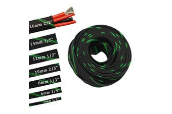 (1cm , Green&Black) - 9.1m PET Expandable Sleeving Flexo Wire Cable Sleeve (1cm , Green & Black)