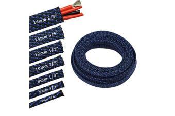 (1.5cm , Blue&Black) - 9.1m PET Expandable Sleeving Flexo Wire Cable Sleeve (1.5cm , Blue & Black)