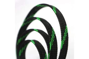 (1.3cm , Green&Black) - 9.1m PET Expandable Sleeving Flexo Wire Cable Sleeve (1.3cm , Green & Black)