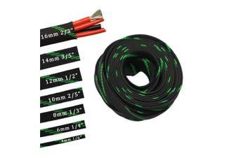 (0.6cm , Green&Black) - 9.1m PET Expandable Sleeving Flexo Wire Cable Sleeve (0.6cm , Green & Black)
