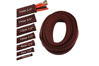 (0.4cm , Red&Black) - 9.1m PET Expandable Sleeving Flexo Wire Cable Sleeve (0.4cm , Red & Black)