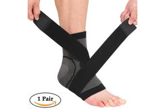 (Large, Gray & Black) - Beister 1 Pair Ankle Brace Compression Support Sleeve for Women and Men, Elastic Sprain Plantar Fasciitis Foot Socks for Injury Recovery, Joint Pain, Achilles Tendon, Heel Spurs