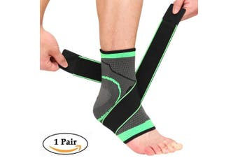 (Medium, Gray & Green) - Beister 1 Pair Ankle Brace Compression Support Sleeve for Women and Men, Elastic Sprain Plantar Fasciitis Foot Socks for Injury Recovery, Joint Pain, Achilles Tendon, Heel Spurs