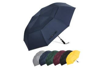 (Dark Blue) - G4Free 160cm Portable Golf Umbrella Automatic Open Large Oversize Vented Double Canopy Windproof Waterproof Sport Umbrellas