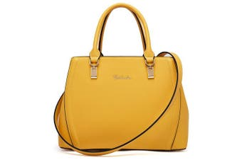(Yellow, Medium) - BOSTANTEN Fashion Women Leather Look Shoulder Top Handle Handbag Medium Size Long Strap Tote Bag Yellow