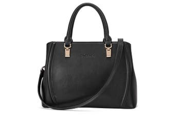 (Black, Medium) - BOSTANTEN Fashion Women Leather Look Shoulder Top Handle Handbag Medium Size Long Strap Tote Bag Black