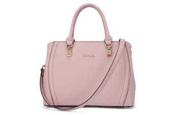 (Pink, Medium) - BOSTANTEN Fashion Women Leather Look Shoulder Top Handle Handbag Medium Size Long Strap Tote Bag Pink
