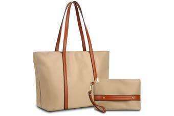 (Kahki Bag Brown Strap) - YALUXE Women Oxford Laptop Tote Bag Nylon Shoulder Hobo Handbag Fits 38cm Tablet Come with Wristlet Purse Kahki Bag Brown Strap